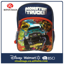 On Sell 2016 Fashional School Bags with Cartoon Monster Trucks for Teenagers Boys