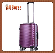 Purple color abs trolley case hard shell luggage bag aluminium trolley case