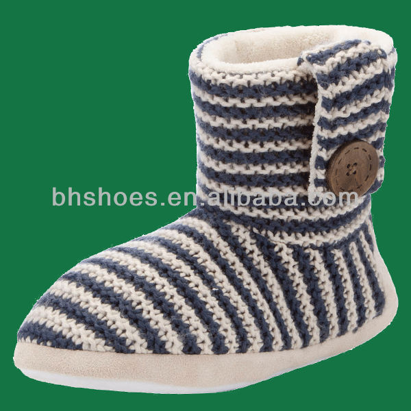 BHS095376 lady warm stripe knitted winter bootie slippers