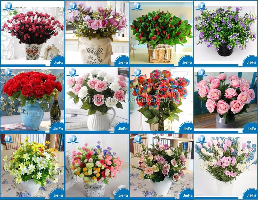 Home Decoration Silk Flower Colorful Artificial Flowers