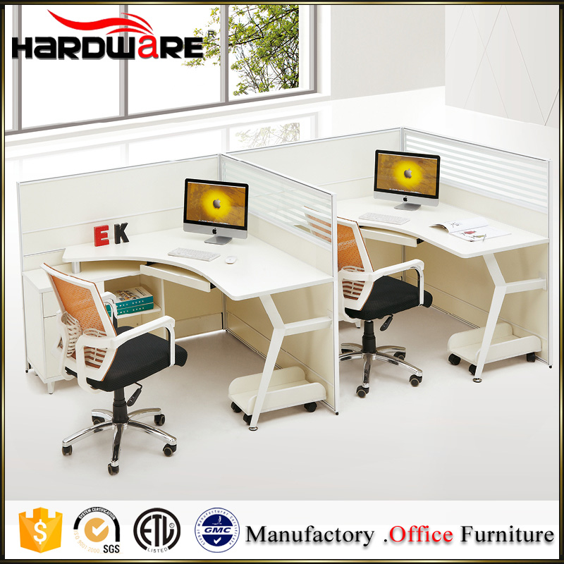 Modern office furniture white steel MFC 2 seat office desk with cabinet