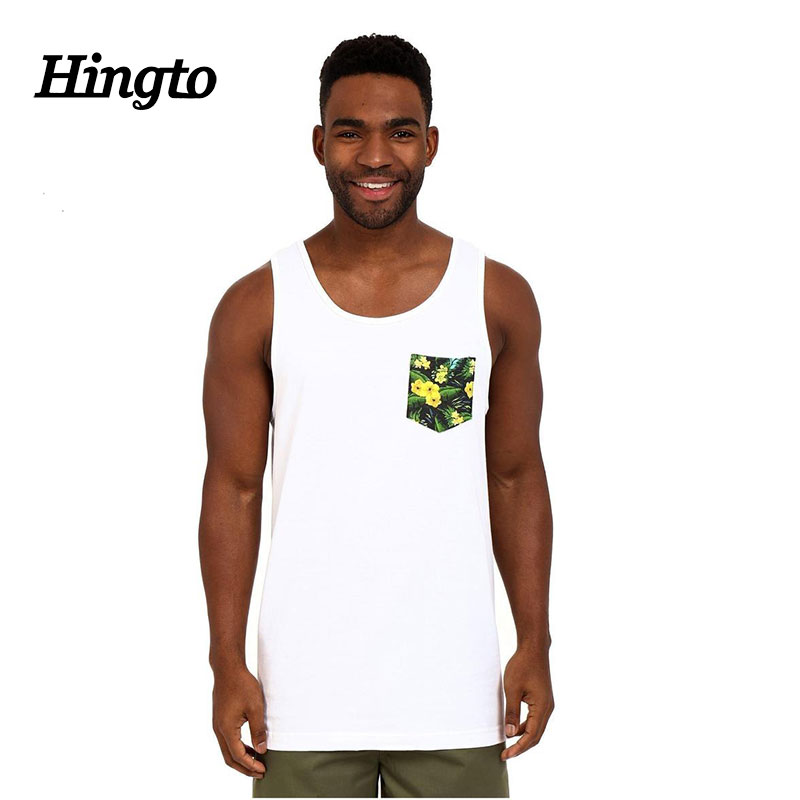 Men white color cottonn pocket tank tops/singlets custom private logo design cheap wholesale