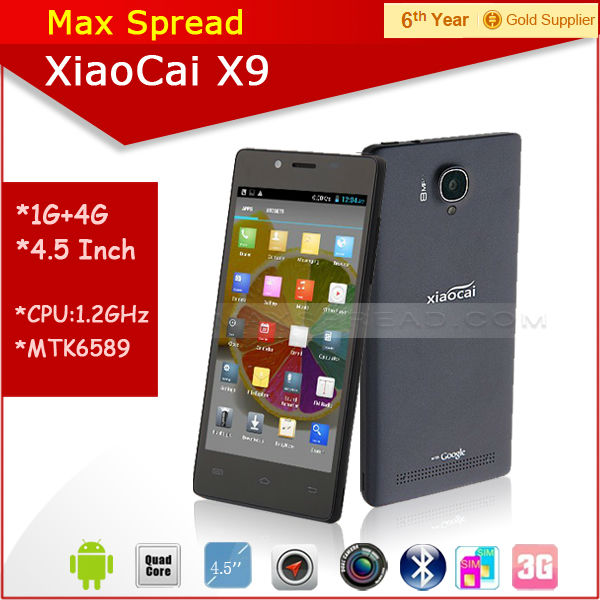 Hot sales! cheapest 5 inch Screen MTK6582 quad core Xiaocai X9 3g wifi android dual sim mobile phone