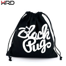 Black Dust Cotton Drawstring Bag