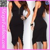 Front Zipper Irregular Black Latest Office Dress Designs Bodycon Wear