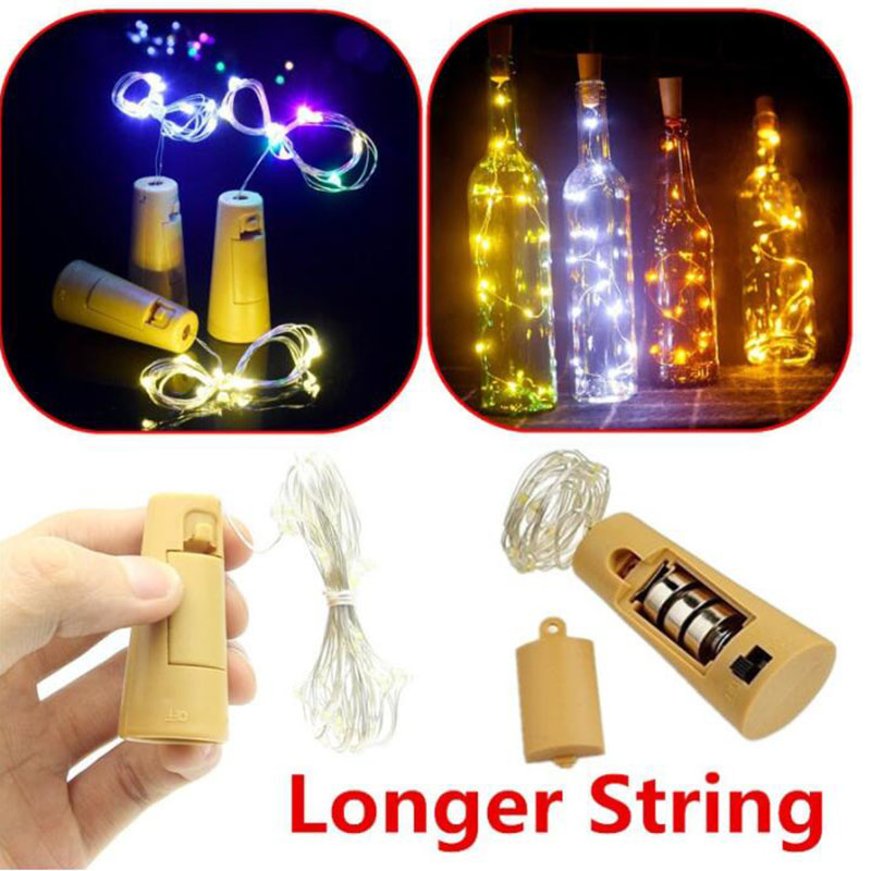 2M 20LED Wine Bottle led Light Cork Shape Battery Copper Wire String Lights for Bottle DIY Christmas Wedding