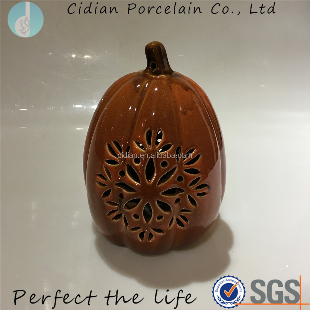 LED Light Large Ceramic Pumpkin Ornament for Halloween