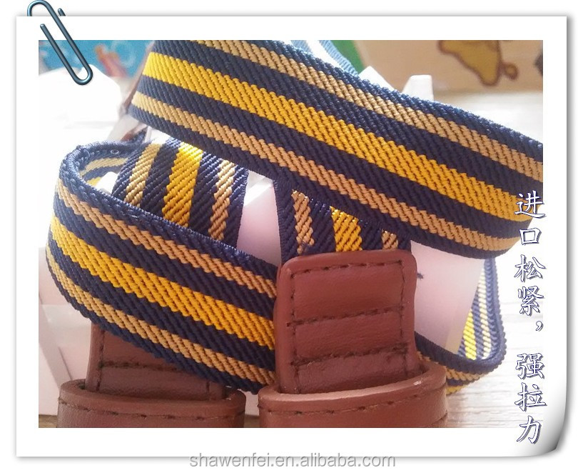 Wholesale Fashion stripe colors elastic belt with PU ends