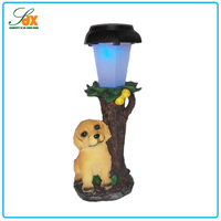 2016 new fashion resin animal shaped cute dog solar garden light / garden light