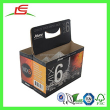 E0030 Wholesale Custom Printed Cardboard 6 Pack Bottle Beer Carriers, 6 Bottle Wine Cardboard Bottle Carrier With Handle