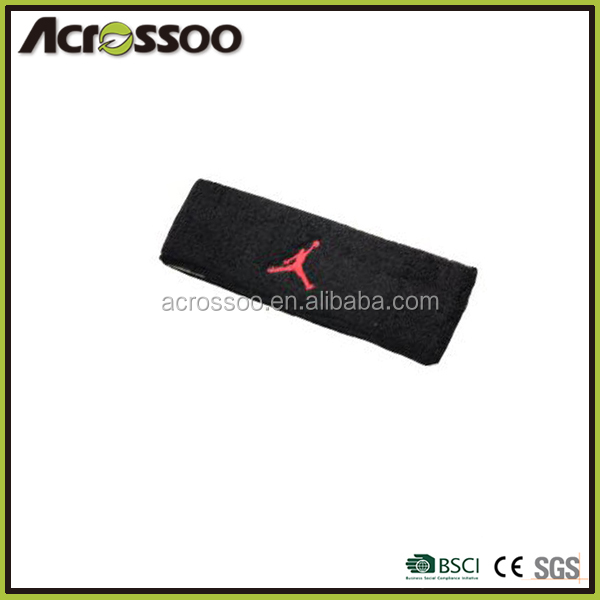 Wholesale black cotton terry headband, custom embroidery knitted tennis sweatbands