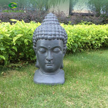 "Meditating Buddha Head 18"" High Outdoor Statue"