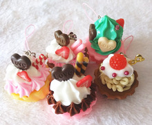 Artificial food keychain plastic cupcake keychain