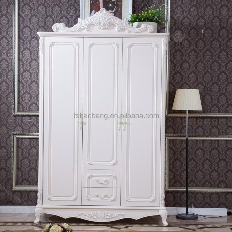 Artesanato Em Tecido ~ Blanco antiguo estilo europeo francés 3 puerta de madera tallada boda dormitorio muebles armario