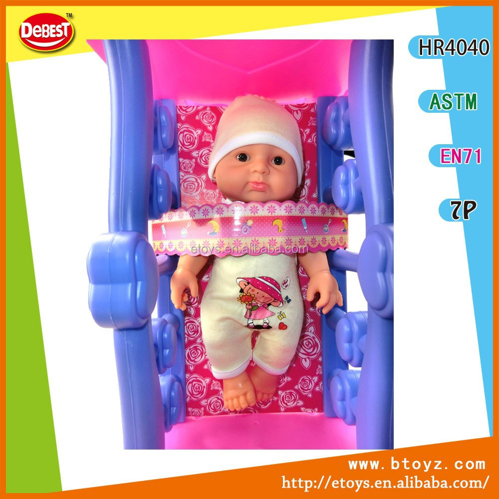 plastic pink baby bed baby doll bed with crib,baby dolls toys wholesale