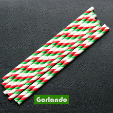 Decoration Red and Green Stripes Paper Drinking Straws For Party