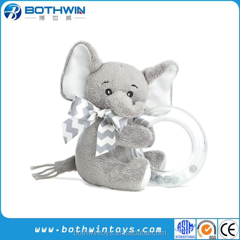 Custom grey elephant baby shake ring rattle