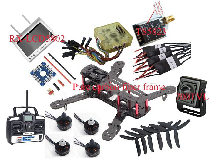 Full Carbon Fiber Mini QAV250 C250 Quadcopter Kit Motor 12A Esc Flight Control