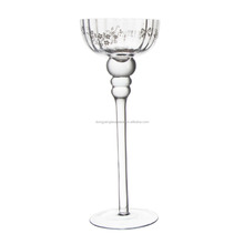 2017 electroplate gold high-quality handmade votive long-stemmed glass goblet candle holder/Candlestick for table centerpieces