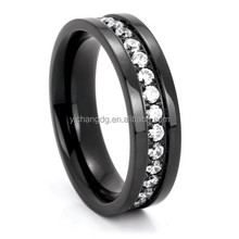 Black Titanium Eternity Band with Cubic Zirconia,Free Nickel Stainless Steel New Ring