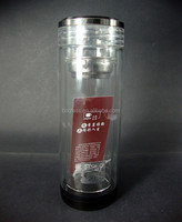 Personal Fancy Clear Double Wall Glass Water Bottle With Filter