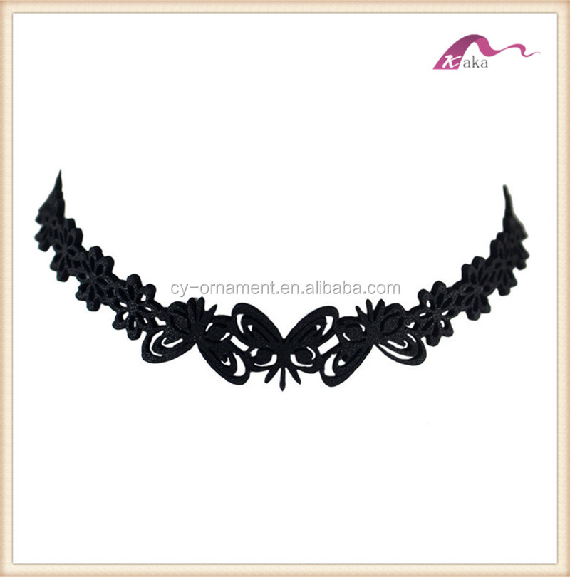 Fashion women black velvet flower butterfly choker necklace,custom fabric choker jewelry