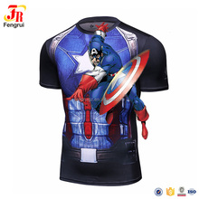 Mens Marvel Anime Captiain America 3D Printed T Shirts Short Sleeve Compression Superhero Shirts