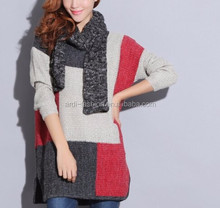 2016 fancy crew neck loosed style patchwork knitting pattern women angora sweater