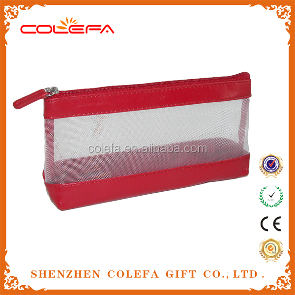 patent leather promotional cosmetic bag trolley mesh makeup bag for travelling