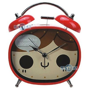 Oval metal twin bell alarm clock