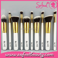 White Premium 10 Piece Synthetic Kabuki Makeup Brush Set Blending Eye shadow Brush