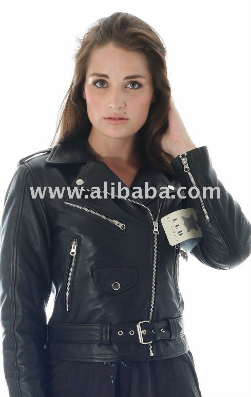 Women's Black Leather Biker Jacket ladies jacket