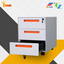 3 drawers mobile computer pedestal filing cabinet with central locking system