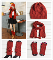 2015 Factory wholesale winter knitted leg warmers & gloves & hat & scarf sets
