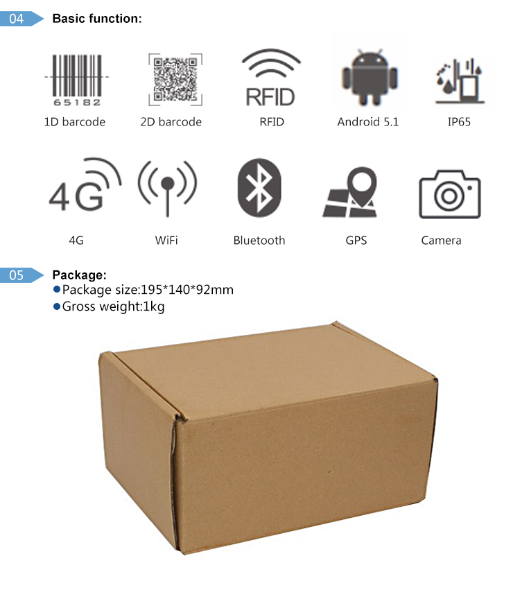 Android 5.1.1 handheld nfc rfid barcode reader