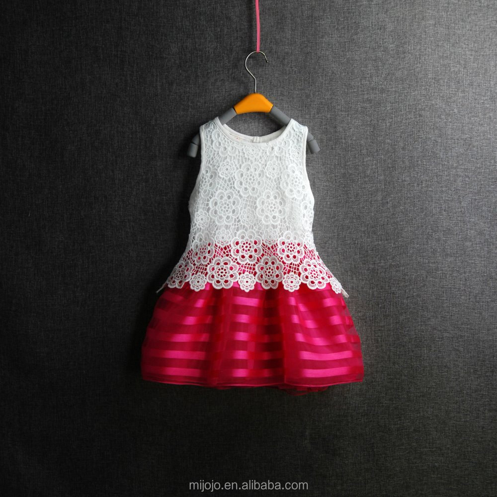 Embroidered lace princess dress young girl sweety style white red frock