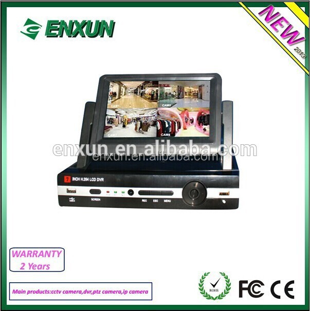 7 Inch Digital LCD DVR 4CH Network P2P CCTV DVR kIT with all accessories