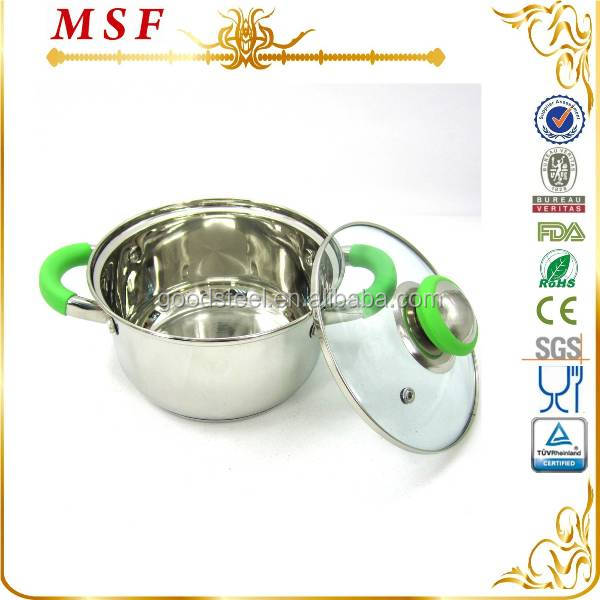 MSF-3047 reoona casserole 555 stainless steel stock pot small cooking pot with heat resistant silicon handles