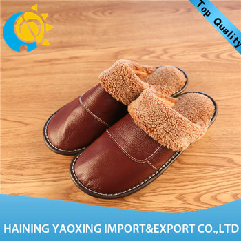 Hot sale cow hide latest fashion women indoor slippers 2017 oem supplier