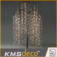 IP44(OD/ID)transformer artificial led weeping willow tree lighting with transparent leaf