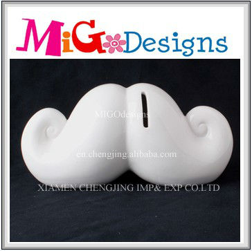 white mustache shaped ceramic coin bank box