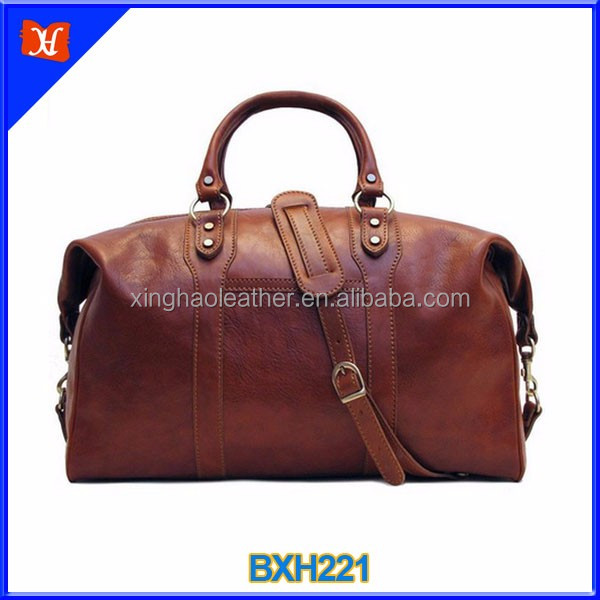 Wholesale travel bag sadle brown weekender best full grain leather duffel bag for men