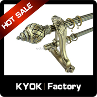 KYOK retractable curtain poles,cheap double drapery rod set,chromed stainless steel curtain pipe wholesale