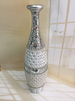 Tall floor flower vase with glass& diamond colors striking for decoration