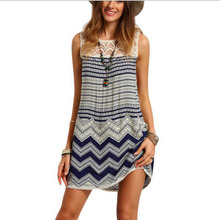 Women Bohemian Back V Neck Vintage Printed Ethnic Summer Shift Tunic Dress