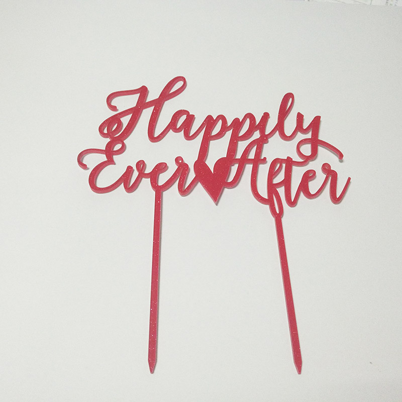 New Arrival ! Glitter Red Color Happily Ever After Acrylic Cake Topper wedding cake Decoration