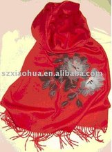 New fashion red embroidered Scarf schal