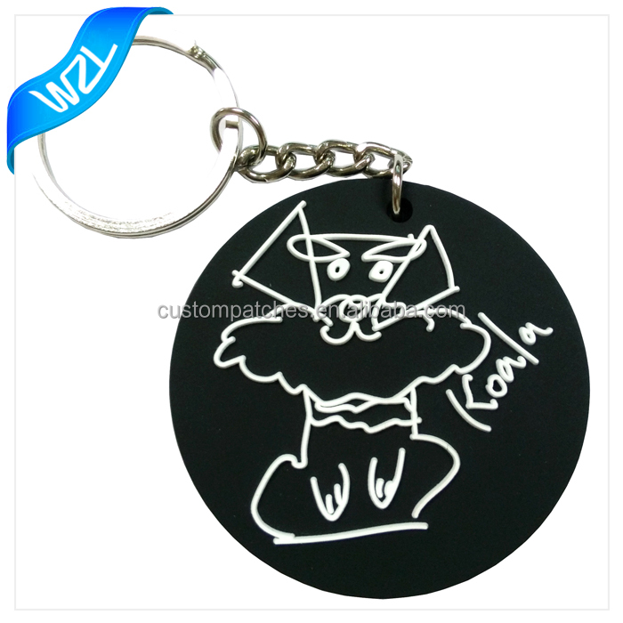 Custom cheap 3D logo printed soft plastic material Rubber PVC keychains