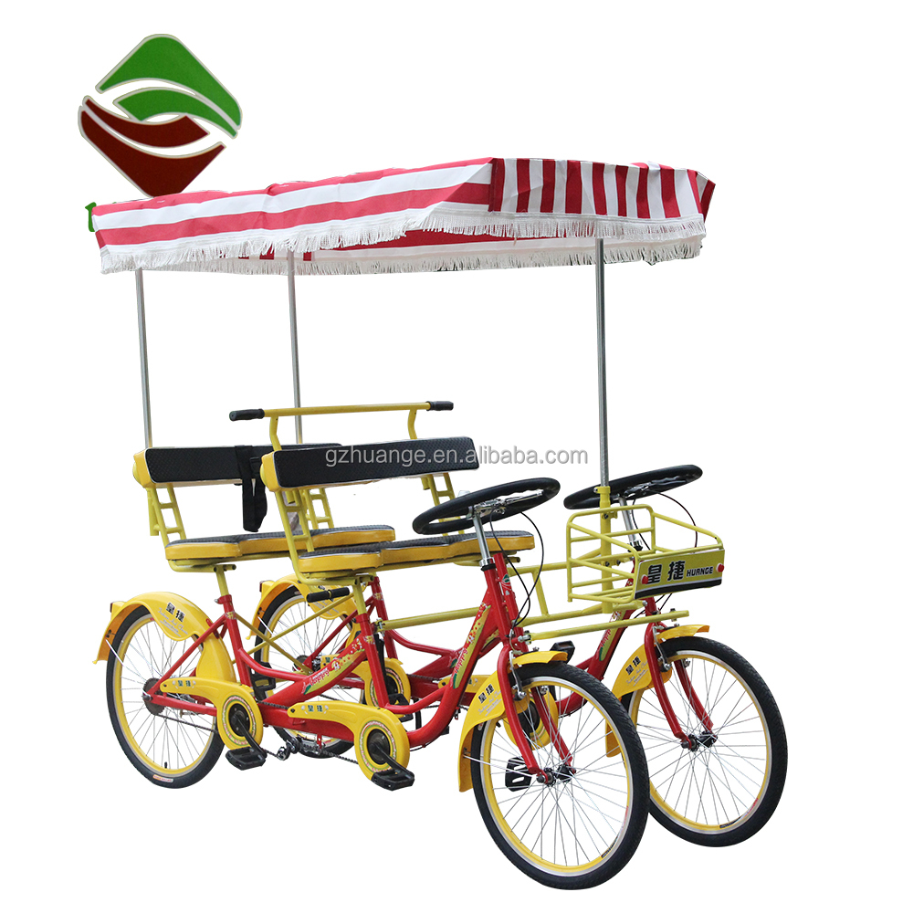 New style 4 seater quadricycle 4 person surrey bike tandem bicycle four wheels bicycle for 4 people tourism rental bikes