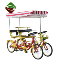 New style 4 seater quadricycle 4 person surrey bike tandem bicycle 4 seats bicycle for 4 people tourism rental bikes